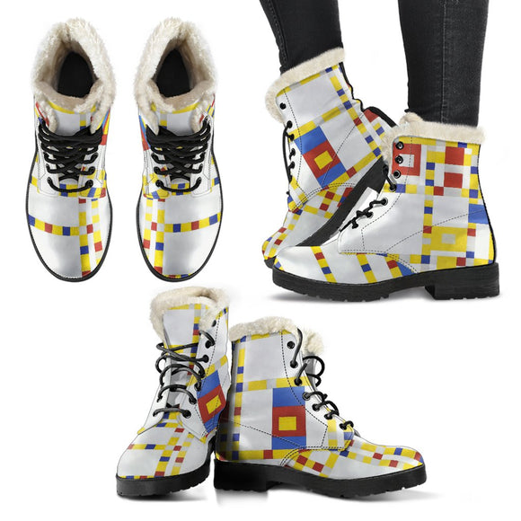 Broadway Boogie Woogie by Mondrian - Faux Fur Leather Boots
