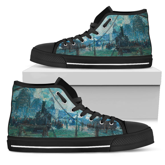 Arrival of the Normandy Train by Monet - Men's High Top Shoe