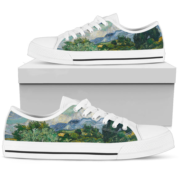 Wheat Field with Cypresses by van Gogh - Men's Low Top Shoes