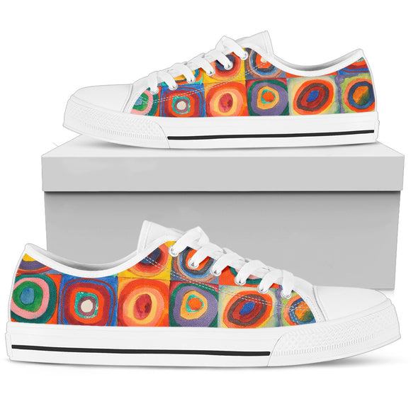 Squares with Concentric Circles by Kandinsky - Women's Low Top Shoes
