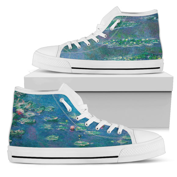 Water Lilies (1906) by Monet - Men's High Top Shoes
