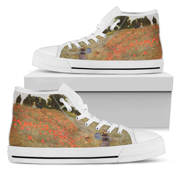 Red Poppy Field by Monet - Women's High Top Shoes