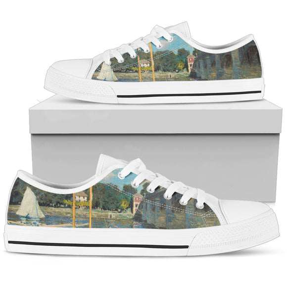 The Bridge at Argenteuil by Monet - Women's Low Top Shoes