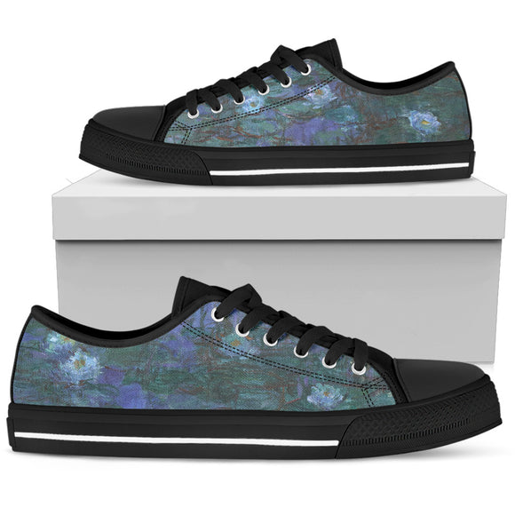 Blue Water Lilies by Monet - Men's Low Top Shoes