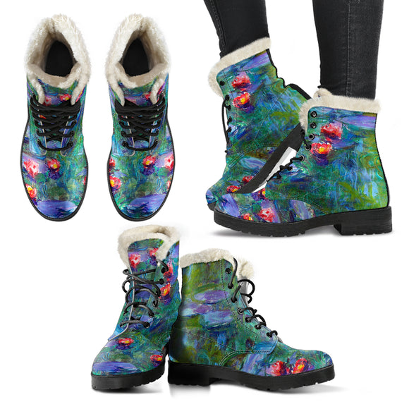 Water Lilies by Monet - Faux Fur Leather Boots