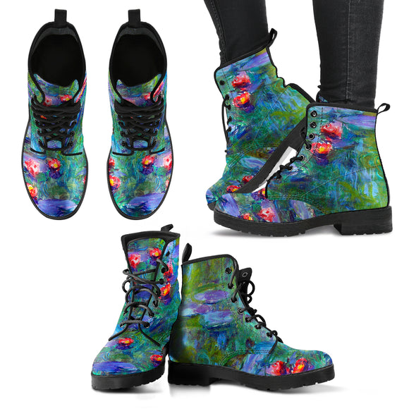 Water Lilies by Monet - Women's Leather Boots