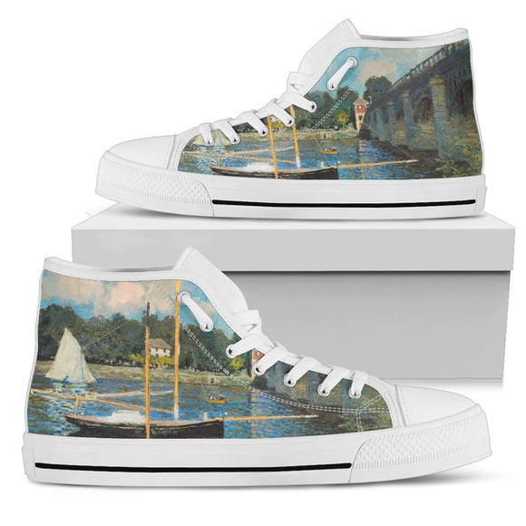 The Bridge at Argenteuil by Monet - Men's High Top Shoes