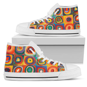 Squares with Concentric Circles by Kandinsky - Women's High Top Shoes