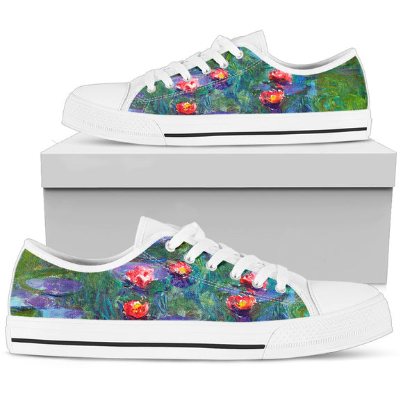 Water Lilies by Monet - Women's Low Top Shoe