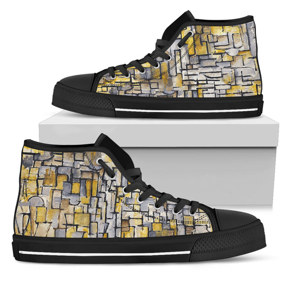 Tableau 2 Composition VII by Mondrian - Women's High Top Shoes