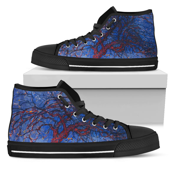 Evening; Red Tree by Mondrian - Men's High Top Shoes
