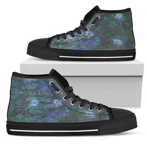 Blue Water Lilies by Monet - Men's High Top Shoes