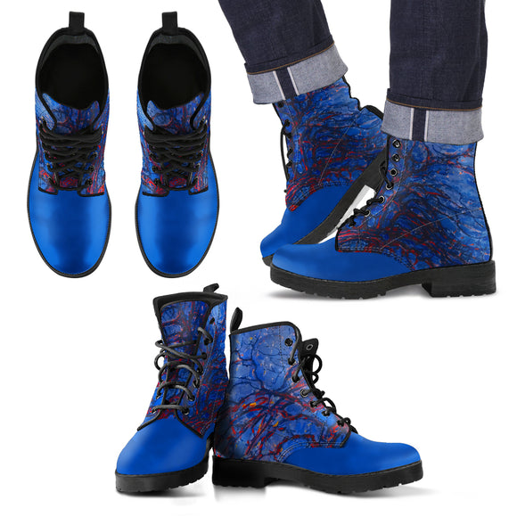 Evening; Red Tree by Mondrian - Men's Eco Leather Boots