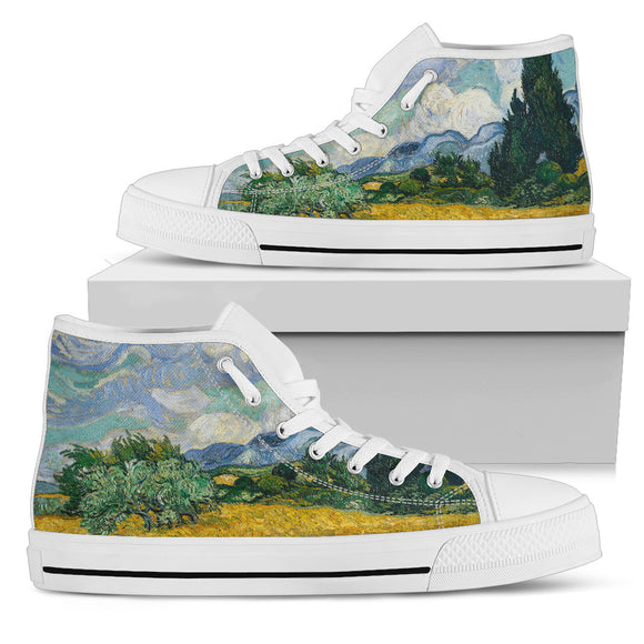 Wheat Field with Cypresses by van Gogh - Women's High Top Shoes