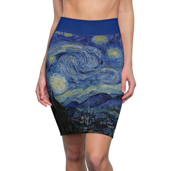 Starry Night by van Gogh - Pencil Skirt