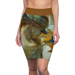 In Front of the Mirror by Degas - Women's Pencil Skirt
