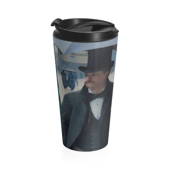 Paris Street, Rainy Day by Caillebotte (close up) - Stainless Steel Travel Mug