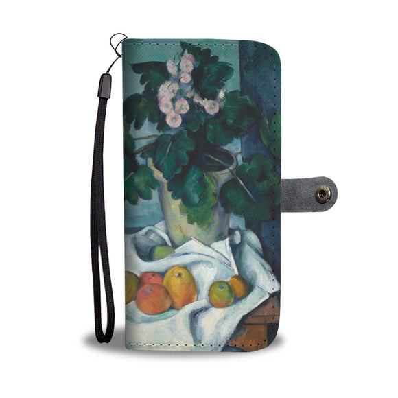Still Life with Apples and a Pot of Primroses by Cezanne - Wallet Phone Case