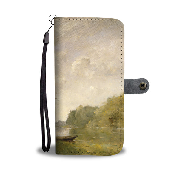 A Pond near Nangis by Trouillebert - Wallet Phone Case