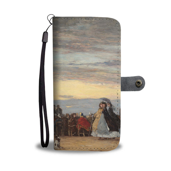 The Beach at Villerville by Boudin - Wallet Phone Case