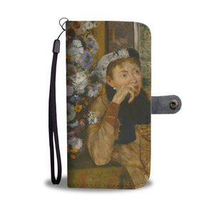 A Woman Seated Beside a Bouquet of Flowers by Degas - Wallet Phone Case