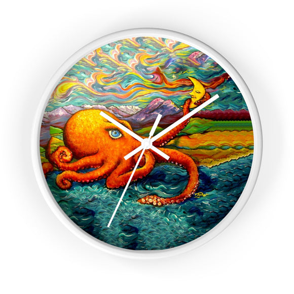 Octopi Port Angeles by Tocher - Wall clock