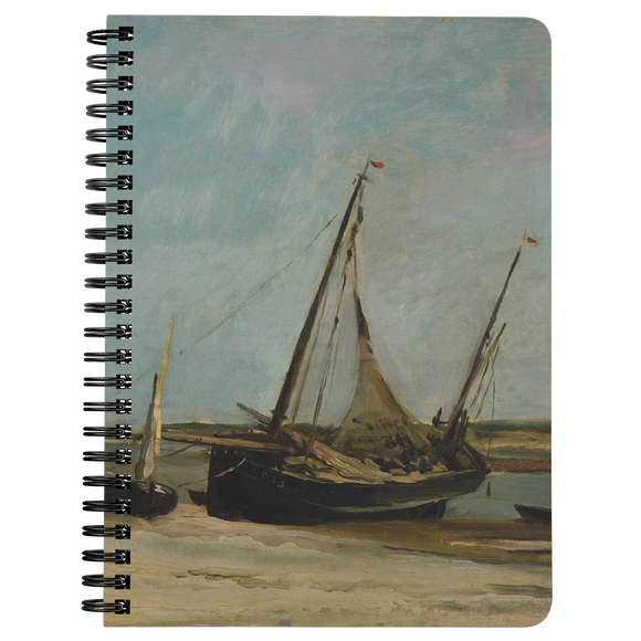 Boats on the Seacoast at Etaples by Daubigny - Spiralbound Notebook