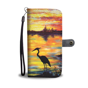 Heron Sunset by Tocher - Wallet Phone Case