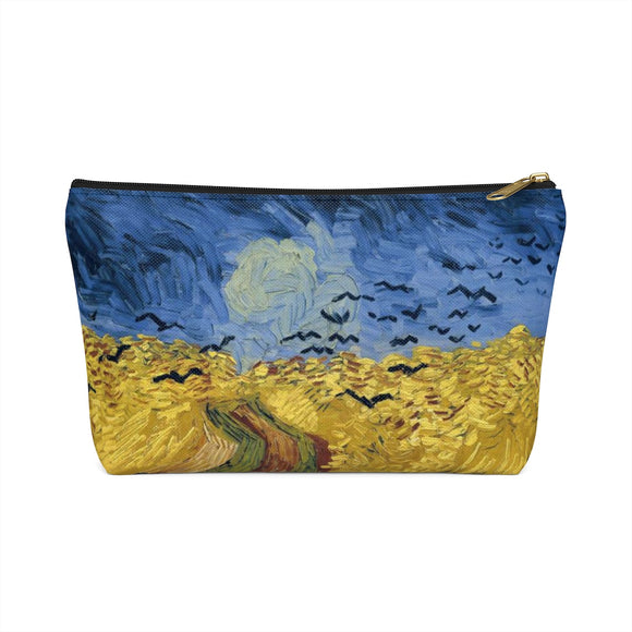 Wheatfield with Crows by van Gogh - Accessory Pouches with T-bottom