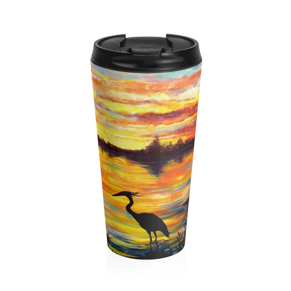 Heron Sunset by Tocher - Stainless Steel Travel Mug