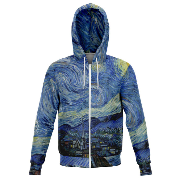 Starry Night by van Gogh - Fashion Zip-up Hoodie, Brushed Fleece Inside