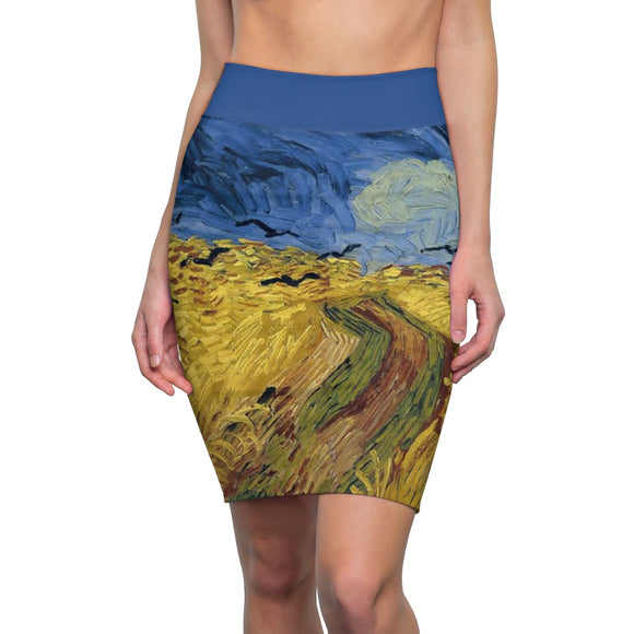 Wheatfield with Crows by van Gogh - Women's Pencil Skirt