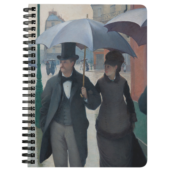 Paris Street, Rainy Day by Caillebotte - Spiralbound Notebook