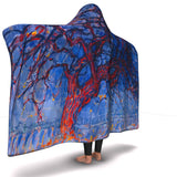 Evening; Red Tree by Mondrian - Hooded Blanket