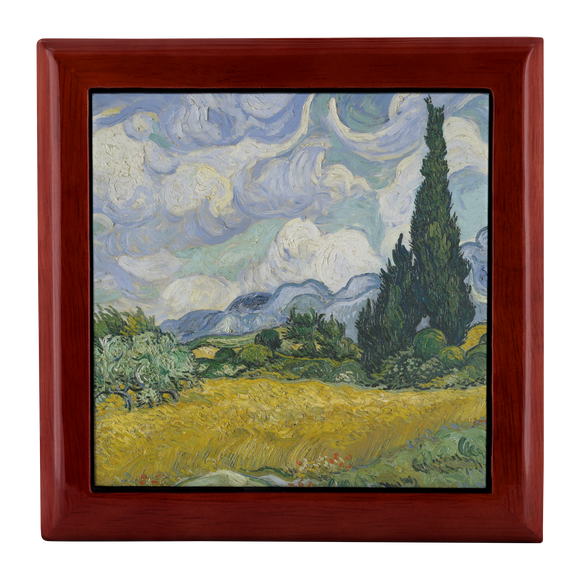 Wheat Field with Cypresses by van Gogh - Jewelry Box