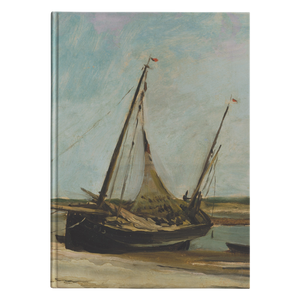 Boats on the Seacoast at Etaples by Daubigny - Hardcover Journal