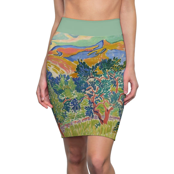 Mountains at Collioure by Derain - Women's Pencil Skirt