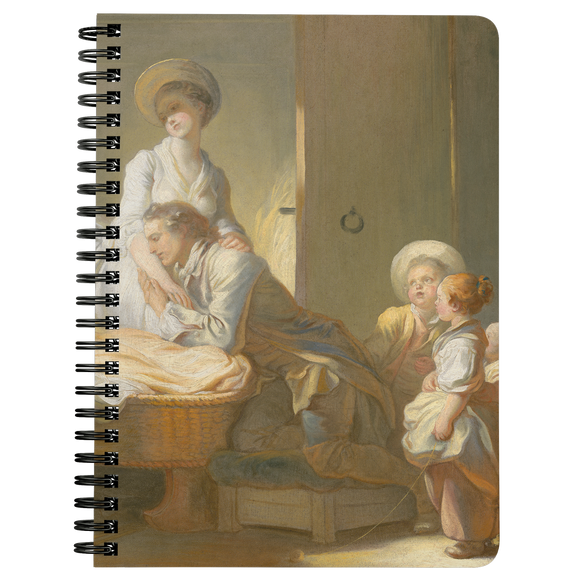 The Visit to the Nursery by Fragonard - Spiralbound Notebook