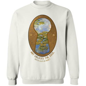Water Lilies by Monet - Through the Keyhole Series Crewneck Pullover Sweatshirt