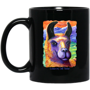 Llama by Tocher - Black Mugs