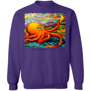 Octopi Port Angeles by Tocher - Crewneck Pullover Sweatshirt