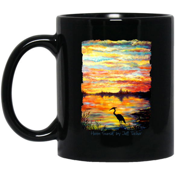 Heron Sunset by Tocher - Black Mugs
