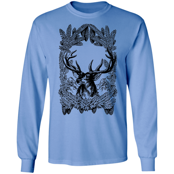 Vintage Deer Line Art LS Ultra Cotton T-Shirt