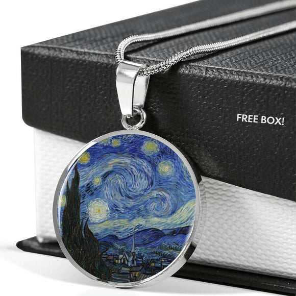 Starry Night by van Gogh - Circle Pendant in Silver or Gold