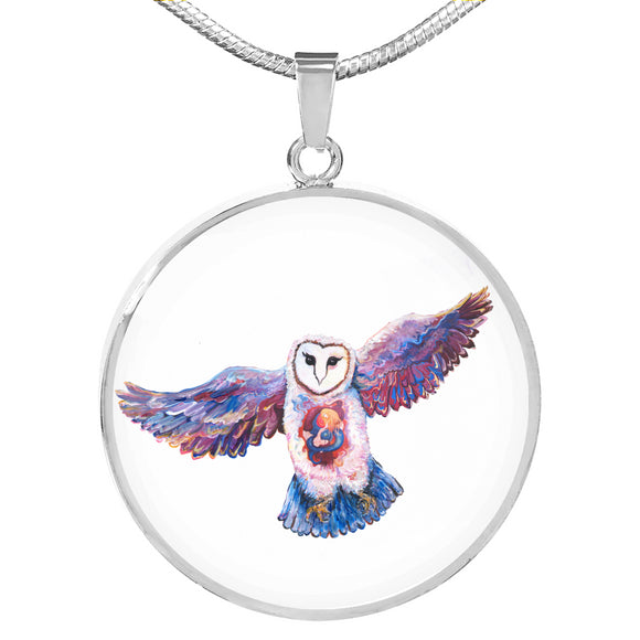 Owl Spirit by Tocher - Engravable Circle Pendant Necklace in Silver or Gold