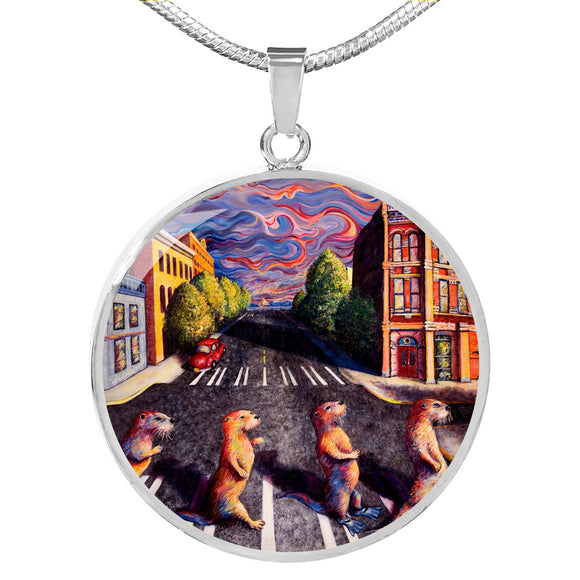Otter Road by Tocher - Engravable Circle Pendant Necklace in Silver or Gold