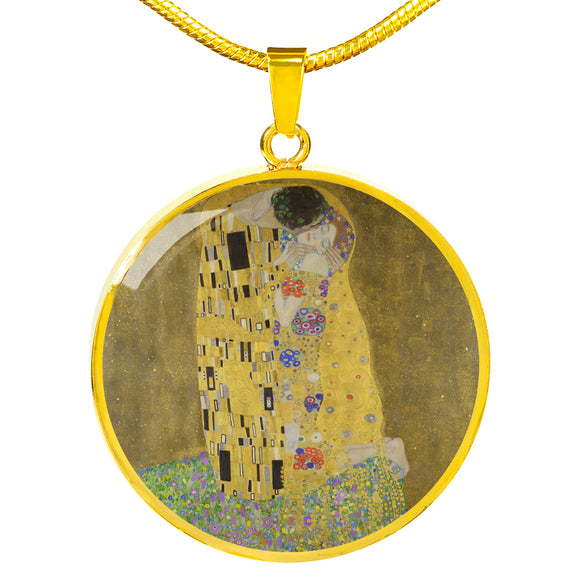 The Kiss by Klimt - Engravable Circle Pendant Necklace in Silver or Gold