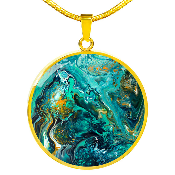 Neptune II by DeScala - Engravable Circle Pendant in Silver or Gold