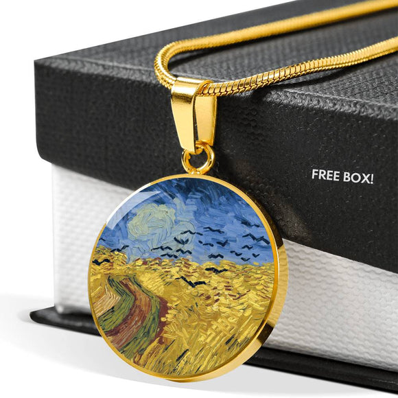Wheatfield with Crows by van Gogh - Engravable Circle Pendant Necklace in Silver or Gold