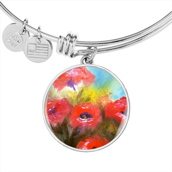 Poppies 2 by Lumens - Adjustable Luxury Bangle Bracelet in Silver or Gold